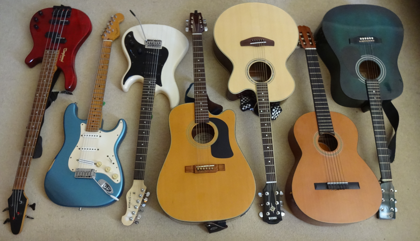 Various types of guitars